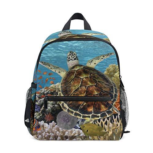 Mini Kinder-Rucksack Daypack grün Schildkröte Schwimmen Blau Ozean Vorschule Kindergarten Kleinkind Tasche für Reisen Mädchen (Kleinkind Junge Ninja Turtle Kostüm)