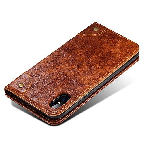 iPhone X Hülle Fall, Belk Retro Weinlese-Schlag-Leder-Telefon-Kasten [Kickstand] [Karten-Schlitze] [Magnetischer Verschluss] Klassische barocke Verschluss-Abdeckung für iPhone X Braun