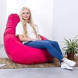 Bean Bag Bazaar High Back Bean Bag Chair - Pink, 118cm x 70cm - Water Resistant Garden or Indoor Gamer BeanBag