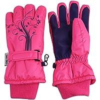 N 'Ice Caps Girls Thinsulate guantes de invierno impermeables y con flores tatuaje Impresión