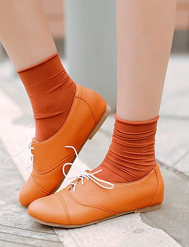 ZQ hug Scarpe Donna - Stringate - Casual - Punta arrotondata - Basso - Finta pelle - Nero / Giallo / Bianco / Arancione , orange-us8 / eu39 / uk6 / cn39 , orange-us8 / eu39 / uk6 / cn39 yellow-us7.5 / eu38 / uk5.5 / cn38