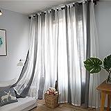 DEZENE Grau Weiß Gestreift Vorhänge Durchsichtig mit Ösen -2 Stück modern Streifen Transparent Voile tüll Gardinen für kinder,140 X 245 CM