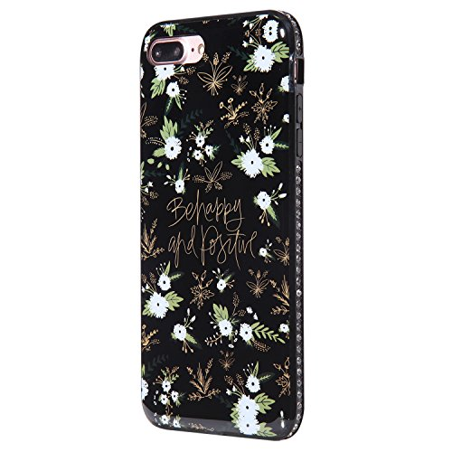 Custodia Cover per iPhone 7 Plus 5.5, JAWSEU Ultra Slim Morbida Soft Custodia Cover Case per iPhone 7 Plus in Gel TPU Silicone Cristallo di lusso di Bling di scintillio lucido Diamante Scintilla per i Floreale #5