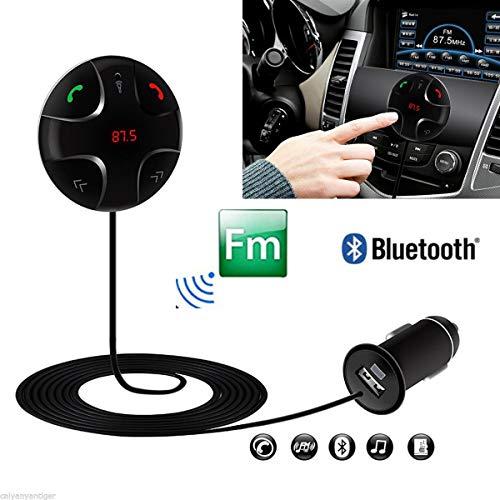 HanGang Trasmettitore FM Bluetooth, Supporto FM per Auto, Ricevitore Audio Stereo, Kit Auto: Caricabatterie per Auto USB, Altoparlante, Supporto telefonico. Supporto iPhone, Android e MP3