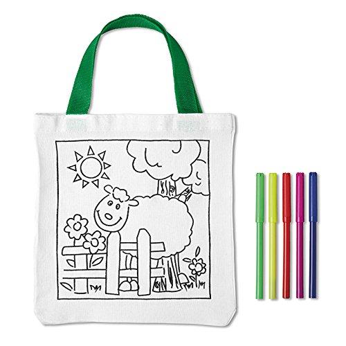 geschenkartikel-shopping Baumwolltasche zum selbst Bemalen für Kinder Geburtstag Kindergarten Stifte inklusive