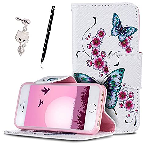 Etui iPhone 5S , Anfire Fleur et Papillon Motif Peint