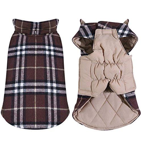 Rantow Gemütliche Winddicht Reversible Haustier Hund Jacke, Schnee Beweis Britischen Stil Overcheck Winter Warme Kleidung Hund Mantel Weste für Small Medium Large hunde (XXXL, Brown Plaid) -