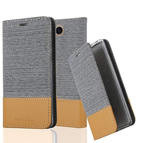 Cadorabo Hülle für LG X Power 2 - Hülle in HELL GRAU BRAUN - Handyhülle mit Standfunktion und Kartenfach im Stoff Design - Case Cover Schutzhülle Etui Tasche Book - 2 X Stoff
