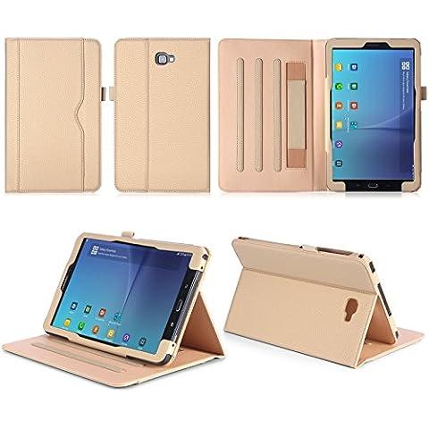 ISIN Funda para Tablet Serie Funda de Premium PU con Stand Función para Samsung Galaxy Tab A 10.1 pulgadas SM-T580N T585N Android 6.0 Marshmallow Tablet con Velcro Correa de Mano, Múltiples vista ángeles y Documento Tarjeta de Bolsillo