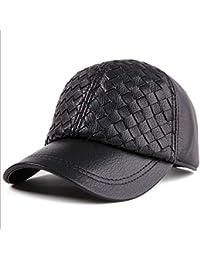 Bekleidung Zubehör Kappe Mann Freien Echtem Leder Flache Dach Schirmmütze Ohrenschützer Leder Hut