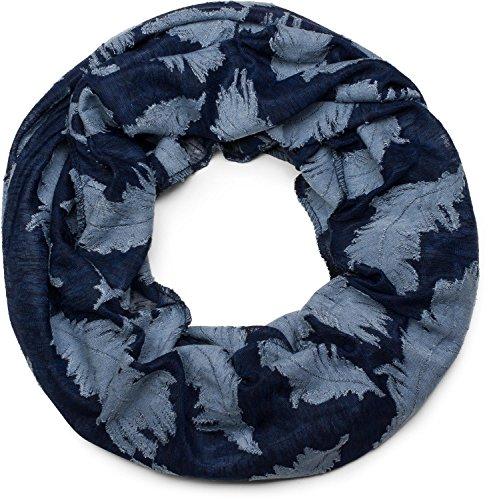 styleBREAKER Loop Schal mit gewebtem Feder Muster, Schlauchschal, Tuch, Unisex 01017068, Farbe:Dunkelblau