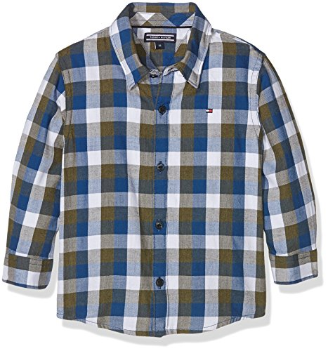 Tommy Hilfiger Jungen Hemd DG Gingham Twill Check Shirt L/S, Mehrfarbig (Grape Leaf 305), 152 (Herstellergröße: 12) -