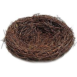 Dolity Nido de Pájaro Hecho a Mano Accesorio de Decoración para Hogar Jardín Bares Cafeterías - marrón, 10cm