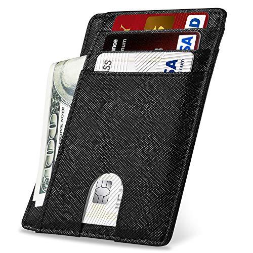 Yosemy Cartera Tarjeta de Crédito Mini Cartera Slim RFID Bloqueo Monedero de Cuero Billetera Hombre para Crédito & Efectivo, Negro