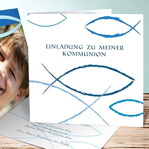 Einladungskarten Kommunion Vorlagen, Bedeutung 5 Karten, Quadratische Klappkarte 145x145 inkl. weiße Umschläge, Blau