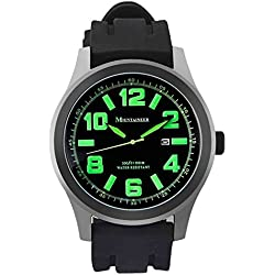 Mountaineer Mens Sport Watch Black Silicone Rubber Band Big Face Green Numerals Date Reloj Hombre MN8042