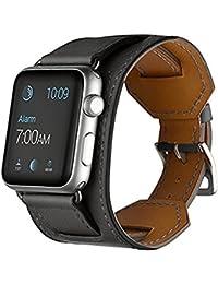 Apple Montre bande, SANDAY (Sangle en cuir véritable bande poignet avec 38mm et 42mm pour Apple Montre iwatch eduction & Sport