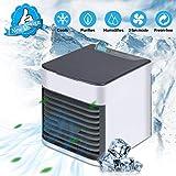 QFUN Condizionatore Portatile Mini Raffreddatore D'aria,Umidificatore,Ventilatore,purificatore d'aria 3 in 1 Mini Air Cooler USB Ventilatore Personali Refrigeratore Basso Rumore 3 velocità