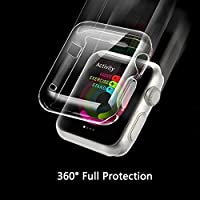 Apple Watch Series 1 Case, Feskin Lightweight Soft TPU Clear iPhone Watch Cases with Ultra Thin Full Screen Protector Cover for iWatch Series 1 (42mm)
