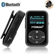 Lettore MP3 Bluetooth Foneso Mini Sport Leggero portatile con design MP3 da 8 GB Il lettore musicale da 30 ore supporta FM e registra in nero