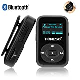 Bluetooth MP3 Player, Foneso 8GB Mini Sport MP3 mit Clip, 30 Stunden Musik Wiedergabe, Unterstützt FM und Aufzeichnung, Schwarz