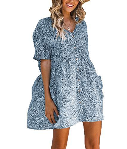 Ajpguot Sommerkleider Damen Mode Druck Leopard Kleider V-Ausschnitt Blusenkleider Freizeit Kurz Kleid mit Taste Strandkleider Tasche Minikleid (S/36, Blau)