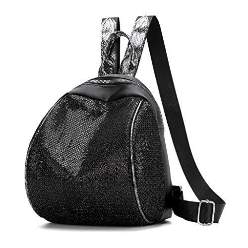 VECOLE Rucksäcke Damen Mädchen 2019 Neuer Pailletten Umhängetasche Mode Student Tasche Reiserucksack Outdoor-Shopping Reiserucksack(Schwarz)