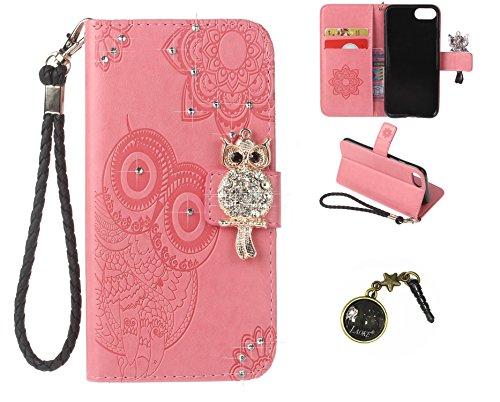 iphone7 (4.7 Zoll) Wallet Case für Apple iPhone 7 Flip Hülle Laoke Eule Blumen Muster Handyhülle Schutzhülle PU Leder Case Skin Brieftasche Ledertasche Tasche im Bookstyle in +Staubstecker (5) 3