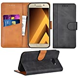 Adicase Galaxy A3 2017 Hülle Leder Wallet Tasche Flip Case Handyhülle Schutzhülle für Samsung Galaxy A3 2017 (Dunkelgrau)