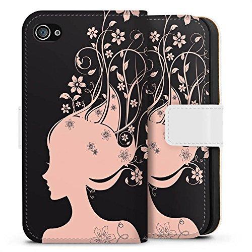 Apple iPhone X Silikon Hülle Case Schutzhülle Frau Blumen Blüten Sideflip Tasche weiß