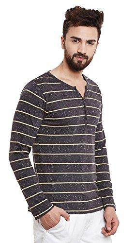 Rigo Herren Henley Neck Baumwolle Stripe Pattern T-Shirt Langarm - Größe Verfügbar Schwarz
