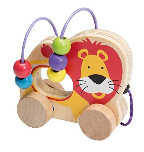 Joueco Mini-Motorikschleife Motorikspiel Hinterherziehtier Spielschleife für Kleinkinder mit bunten Kugeln und schönem Löwe Motiv aus Holz