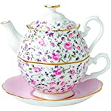 0.49 La tetera y la taza de té Royal Albert Tea Party Porcelana Confeti Rose Ensemble para un conjunto de 1-Rose