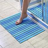 XUEPING Badematte, Duschmatte, Hauptküchenmatte Hohle Entwässerungsplatte Saugschale Reparierte Rutschfeste 40 * 63cm 4 Farben (Farbe : Blau)
