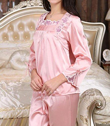 QPALZM Pantaloni Lunghi In Vita Elastica Della Vita Del Collo Del V-collo Del Pigiamondo Del Raso Del Manicotto Delle Donne Pink