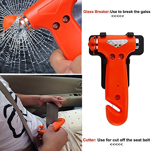 Glass Breaker Life Saver gadget, E LV Multifunctional Portable Auto Rescue Disaster Emergency Escape Tool - Vehicle Safety Hammer , Window Breaker , Seat Belt Cutter Automotive Safety tool - ORANGE