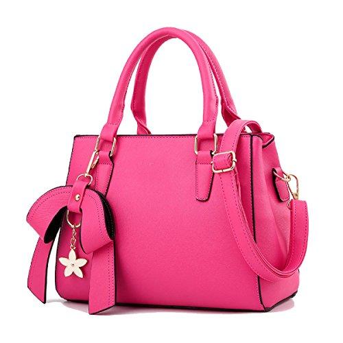 WU ZHI Frauen PU Taschen Neue Handtaschen Schultertasche Messenger Bags Bale Bow Handtaschen Pakete Pendler Taschen,Pink-OneSize (Pendler-tasche)