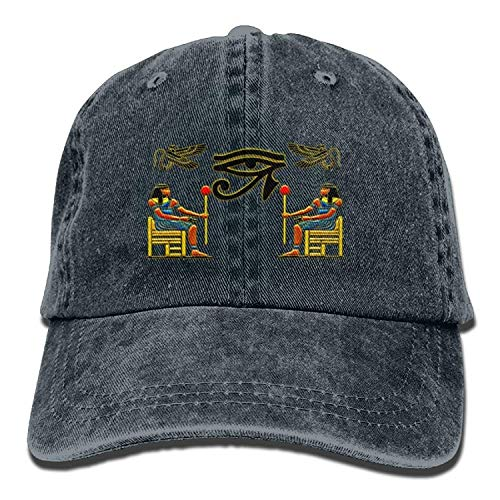 Xukmefat Egyptian Ibis Ankh Horus Eye Denim Hat Adjustable Women's Washed Baseball Caps ()