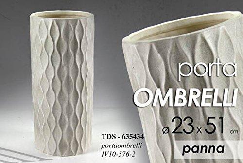 Portaombrelli ceramica lavorato panna 23x51 cm accessori arredo casa ingresso
