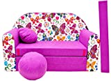 Pro Cosmo M33 Kids Sofa Bed with Pouffe/Footstool/Pillow, Fabric, Dark Purple, 168 x 98 x 60 cm, cotton