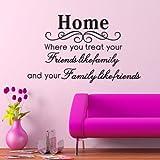 *Home Family Friends * Englische Sprüche Wandsticker Wandbild Wandtattoo Wandaufkleber Wandbilder Aufkleber Deko. PVC abnehmbar