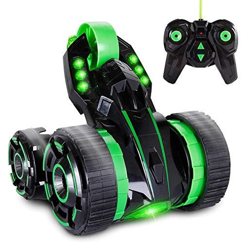Bakaji macchina radiocomandata con 5 ruote rotazione 360 gradi luci e radiocomando a distanza multidirezionale auto da corsa giocattolo per bambini 2 colori