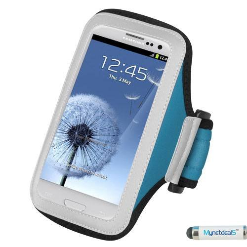 Premium Sport-Armband Tasche für Nokia Lumia 920/Lumia 930/Lumia 928(Laser), Light Blau + mynetdeals Mini-Eingabestift (Nokia Lumia 928 Case Blau)