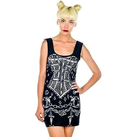 Rat Baby B * * * hcraft Trance vestito nero corsetto Bodycon senza maniche Scoop - Rat Mix