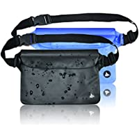 (3 Pack) Waterproof Pouch Bag Case Waist Strap for Beach, Swim, Boating, Kayaking, Hiking, Etc - Protect Iphone, Cellphone, Camera, Cash, Mp3, Passport, Document From Water, Sand, Snow, Dust and Dirt