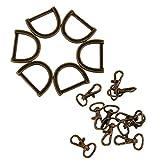 MagiDeal 30 Pcs Métal D-Anneau Boucle Boucle Anneau Et Pivotant Mousquetons Crochet Bricolage Pour Porte-Clé Sac à Main