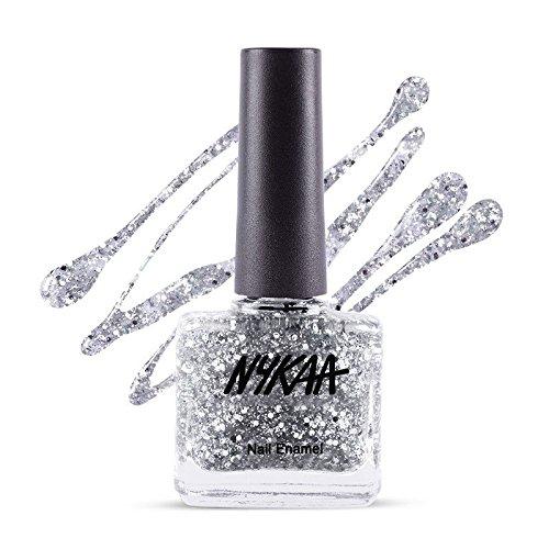 Nykaa Star Studded Glitter Coat Nail Enamel - 227 Silver Snow (9ml)