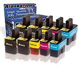 Alaskaprint 10er-Pack Kompatible Druckerpatronen/ Tintenpatronen Ersatz für Brother LC-900 XL Brother DCP-105C DCP-110C DCP-110 DCP-115C DCP-116C DCP-117C DCP-120C DCP-310C DCP-310CN DCP-310 DCP-315CN DCP-340CW DCP-340DCW DCP-340 MFC-1180ME MFC-1185LH MFC-1190CE Patronen (Schwarz , Cyan , Magenta , Gelb)Typserie