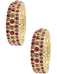 0c33e99d469176 NMII Beautiful & Trendy Design Gold Plated Bangle Set Studded with Zircon  for Womens & Girls