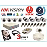 Hikvision 8 Ch Turbo HD Dvr & Mersk Full HD (2MP) CCTV Camera Kit with (All Required Accessories) Note : No Installation Service